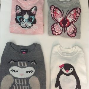 Set of 4 Children's Place Animal Sweaters